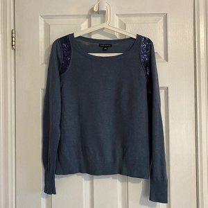 Banana Republic Blue Wool-Blend Thin Sweater